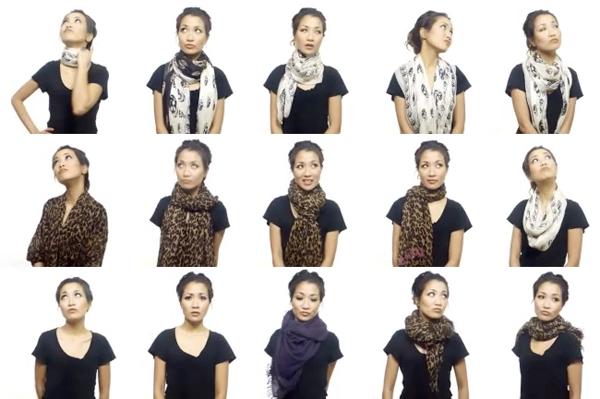 Варианты завязывания шарфа на шее