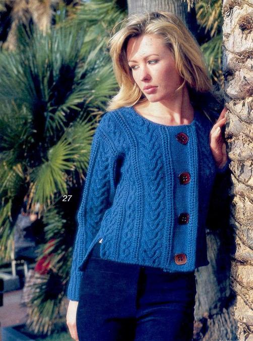 Вязание кофты на пуговицах спицами со схемами для женщин