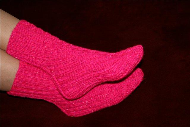 Как вязать носки 2 спицами,