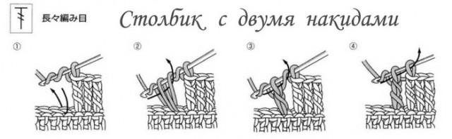 Полустолбик с накидом крючком как вязать схема