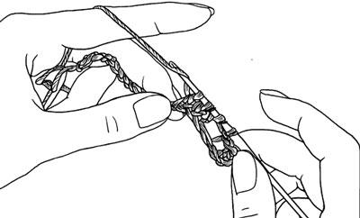 Два столбика без накида, провязанные вместе