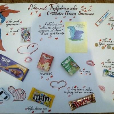 Плакат из конфетами для подруги