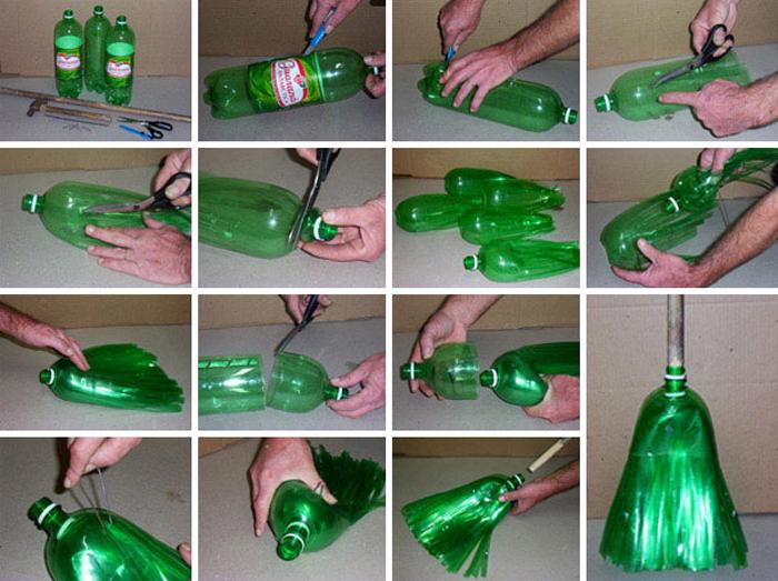 Метла из пластиковых бутылок своими руками