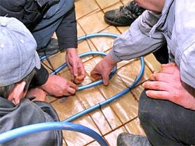 Монтаж тёплого водяного пола, фото