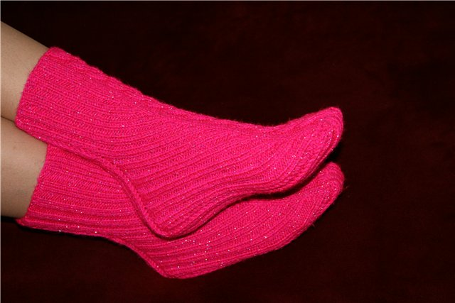 Как вязать носки 2 спицами, фото