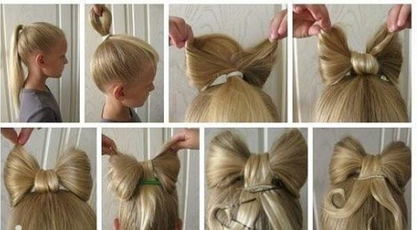 Как делать из волос бант на голове
