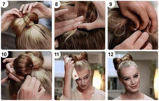 Причёска бантик схема