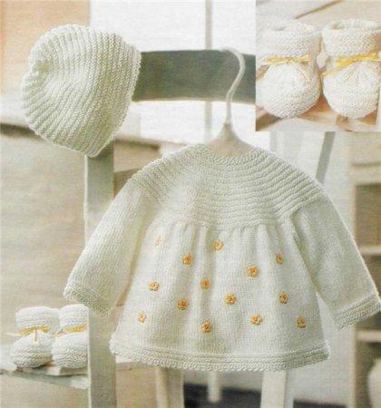Вязанное платье для новоржденной