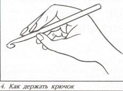 Как правильно держать крючок и нить