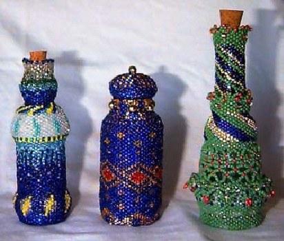 Бутылочка, украшенная бисером