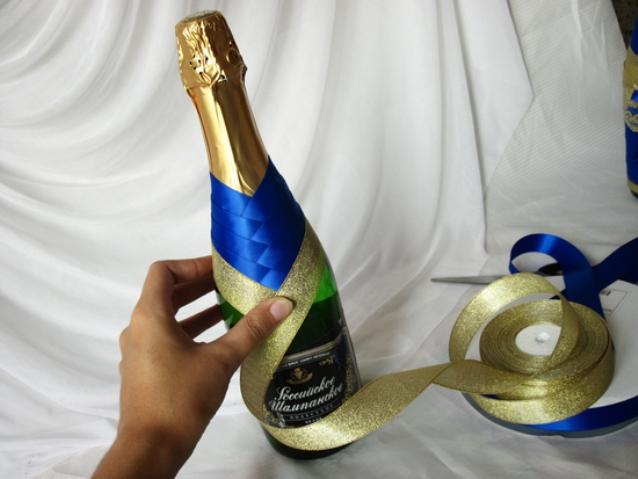 1167 Как украсить бутылку шампанского на Новый год 2019 своими руками