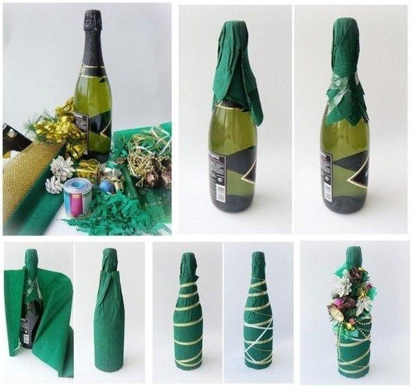 1169 Как украсить бутылку шампанского на Новый год 2019 своими руками