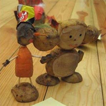 Человек и чебурашка из овощей в детский сад и для школы, фото