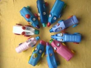 Машинки и животные из пластиковых бутылок, фото
