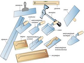 Материалы и инструменты для нанесения штукатурки, фото