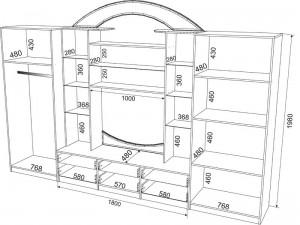 Схемы и чертежи шкафа купе, фото
