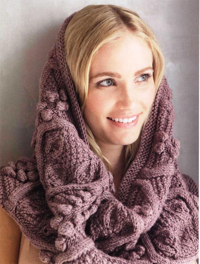 Учимся вязать шарф-трубу спицами, фото
