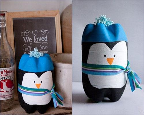 Изготовления пингвина из пластиковых бутылок, фото